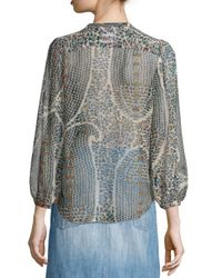 Étoile Isabel Marant - Multicolor Siandra Printed Silk Tie-neck Blouse - Lyst