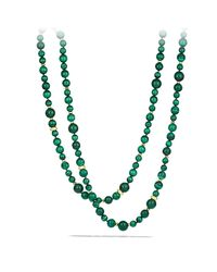 David Yurman - Green Dy Signature Bead Necklace With Malachite In 18k Gold - Lyst