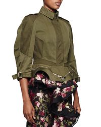 Alexander McQueen - Green Canvas Zip-bottom Peplum Jacket - Lyst