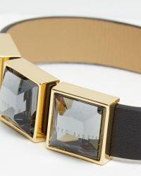 Ted Baker | Black Leather Crystal Cube Bracelet | Lyst