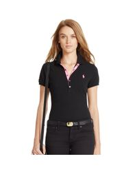 Polo Ralph Lauren - Black Skinny Cotton Mesh Polo Shirt - Lyst