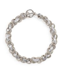 Rebecca Minkoff - Metallic Leather Hepburn Necklace - Lyst