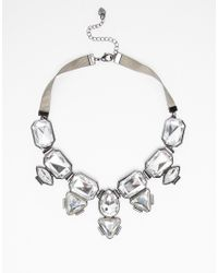 Lipsy | Metallic Multi Statement Stone Necklace With Ribbon | Lyst