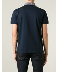 Lagerfeld - Blue Striped Collar Polo Shirt for Men - Lyst