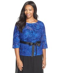 Alex Evenings - Blue Rosette Embroidered Lace Top - Lyst