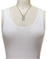 Sam Edelman | Metallic Two-Tone Necklace With Open Square Pendant | Lyst
