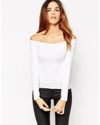 ASOS | White The Off Shoulder Top With Long Sleeves | Lyst