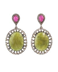 Bavna - Sterling Silver Oval Green Sapphire Earrings With With Champagne Rose Cut Diamond And Pink Sapphires - Lyst