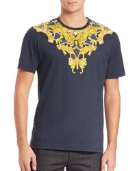 Versace - Blue Embroidered Tee for Men - Lyst