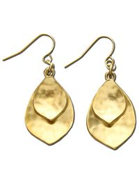 Lauren by Ralph Lauren | Metallic Gold-Tone Leaf Drop Earrings | Lyst