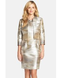 Tahari - Metallic Blurred Jacquard Sheath & Jacket - Lyst