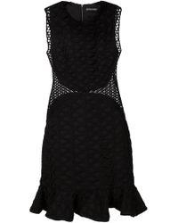 David Koma - Black Lace Panels Peplum Hem Dress - Lyst