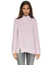 525 America | Purple Hand Knit Mock Turtleneck Sweater | Lyst