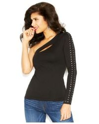 Guess - Black Long-Sleeve One-Shoulder Embellished Top - Lyst