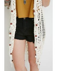 Forever 21 | Natural Beaded Tassel Crochet Cardigan | Lyst