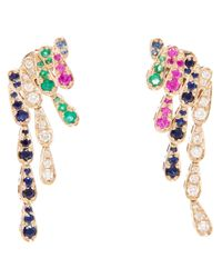 Sabine G | Metallic Emerald And Sapphire Wing Earrings | Lyst