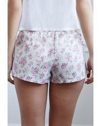 Forever 21 | Pink Clustered Rose Pj Shorts | Lyst