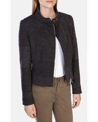 Karen Millen | Gray Jersey Biker Jacket | Lyst