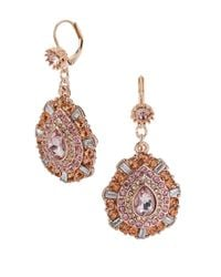 Betsey Johnson | Metallic Mixed Pink Bead Teardrop Earrings | Lyst