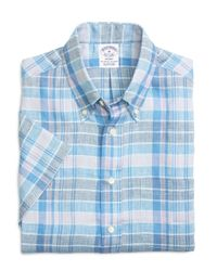 Brooks Brothers - Blue Madison Fit Plaid Linen Short-sleeve Sport Shirt for Men - Lyst