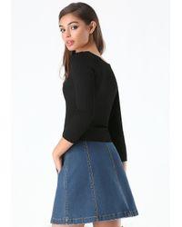 Bebe - Black Ribbed Scoopneck Sweater - Lyst