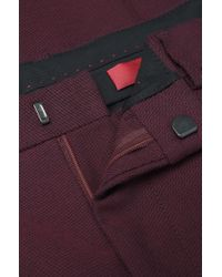 HUGO | Red Regular Fit Trousers In A Stretchy Cotton Blend: 'herlion' for Men | Lyst