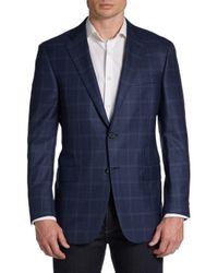 Hickey Freeman - Blue Windowpane Wool Two Button Sport Coat for Men - Lyst