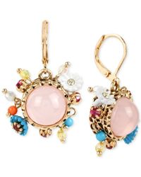 Betsey Johnson | Gold-tone Pink Bead Round Drop Earrings | Lyst