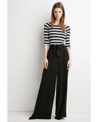 Forever 21 | Black Belted Wide-leg Pants | Lyst