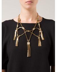 Lanvin | Metallic Tassel Necklace | Lyst