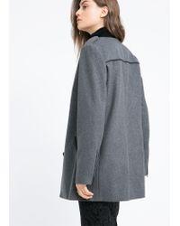 Mango - Gray Buttoned Wool-Blend Coat - Lyst