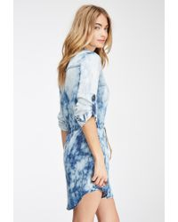 ccb821b6cf Lyst - Forever 21 Contemporary Life In Progress Cloud Wash Chambray ...