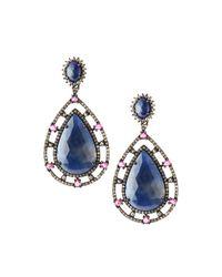 Bavna - Teardrop Earrings With Blue Sapphires - Lyst