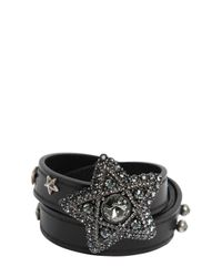 Lanvin | Metallic Star Swarovski & Leather Bracelet | Lyst