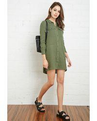 Forever 21 - Green Cotton Utility Shirt Dress - Lyst