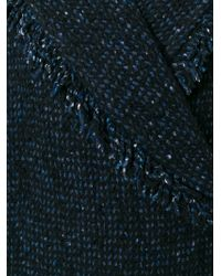 Etro - Blue Bouclé Fringed Coat - Lyst