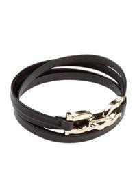 Ferragamo | Black Double Gancini Clasp Leather Wrap Bracelet | Lyst