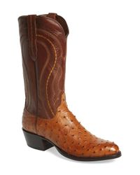 Lucchese | Brown 'montana' Genuine Ostrich & Calfskin Western Boot for Men | Lyst