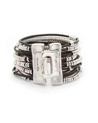 Uno De 50   Brown Bead And Leather Layered Bracelet   Lyst