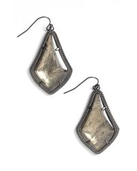 Kendra Scott | Metallic 'alex' Teardrop Earrings - Gunmetal/ Mirror Rock Crystal | Lyst