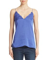 Free People - Purple Satin Scalloped Deep V-neck Cami - Lyst