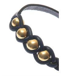 Alexander McQueen | Blue Plaited Leather Skull Bracelet | Lyst