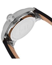 Swiss Legend - Metallic Pioneer Silvertone Steel Case Silvertone Dial Black Genuine Leather Strap for Men - Lyst