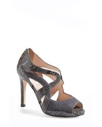 L.K.Bennett | Gray Mabel Snake-Embossed Sandals | Lyst