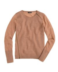 J.Crew - Natural Merino Asymmetrical Zip Sweater - Lyst