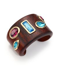 Oscar de la Renta - Brown Crystal & Wood Cuff Bracelet - Lyst