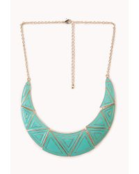 Forever 21 - Green Standout Lacquered Geo Bib Necklace - Lyst