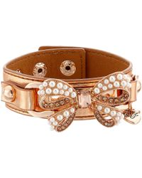 Betsey Johnson | Pink Betsey Leather Pearl Bow Cuff | Lyst