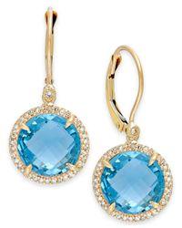 Macy's | Blue Topaz (11-1/4 Ct. T.w.) And Diamond (1/5 Ct. T.w.) Drop Earrings In 14k Gold | Lyst