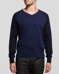 Jack Spade - Blue Buckley Color Block Cotton Vneck Sweater for Men - Lyst